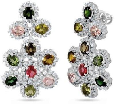 VelvetCase Multi Tourmaline and White Topaz earrings Topaz Silver Chandelier Earring