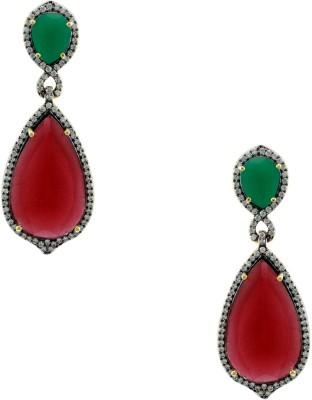 Orniza Divine Victorian CZ Red and Green Earrings Brass Drop Earring