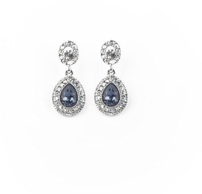 Jewelfin Floral Blue Alloy Drop Earring