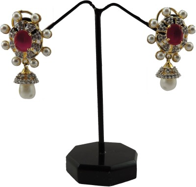 Bharat Sales Red Color Flower Design Cubic Zirconia Copper Drop Earring