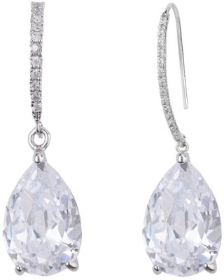 Siyora White Cubic Zirconia Brass Dangle Earring
