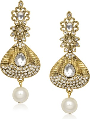 Meenaz Exclusive Royal White Stone Design Cubic Zirconia Alloy Chandelier Earring