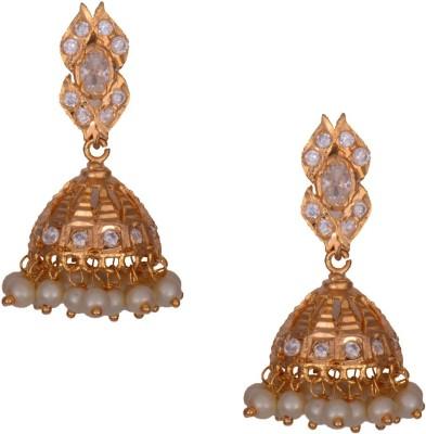 Mahaveer Pearls Thrilling Pearl, Cubic Zirconia Brass Jhumki Earring