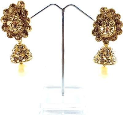 Divitha Allure Traditional golden jhomki. Alloy Drop Earring