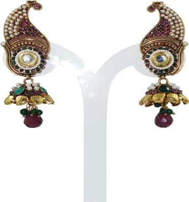 Anjan Perfect Golden Designer Cubic Zirconia Brass Jhumki Earring