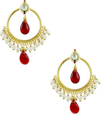 Orniza Round shaped Kundan Earrings with Red and Green Color Brass Drop Earring