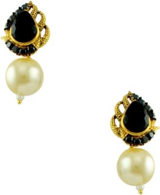 Orniza Rajwadi Earrings in Black Color and Golden Polish Brass Chandbali Earring