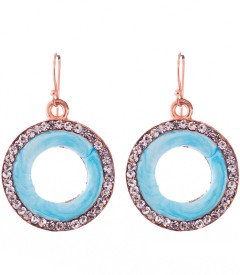 Trinketbag Turquise glass outlined Alloy, Glass Dangle Earring