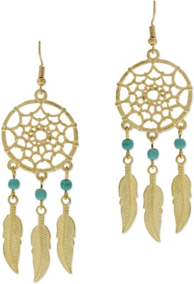 Fabula Gold & Turquosie Dream Catcher Dangling Earrings Metal Dangle Earring