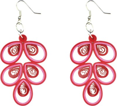 Trendmania Pink and red paper quilled earrings Paper Dangle Earring