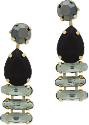 Oomph Gold & Black Crystal Fashion Jewellery for Women, Girls & Ladies Metal Drop Earring