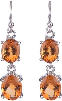 Krishna Pearls & Jewellers Princess Delight Topaz Silver Dangle Earring