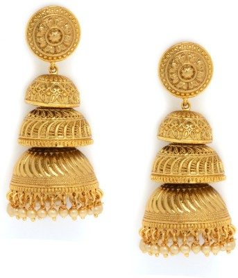 Alankruthi ROYAL TRADITIONAL ANTIQUE GOLDEN STONE STUDDED HANDMADE JUMKAS Copper Jhumki Earring