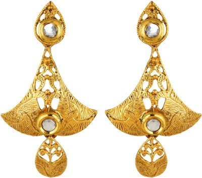 Fabula Gold & White Kundan Traditional Ethnic Jewellery Filigree for Women, Girls & Ladies Metal Dangle Earring