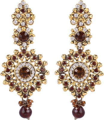 Maisha Gold Decked With Brown & White Alloy Drop Earring