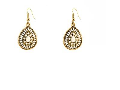 Zidox White & Gold blend Brass Dangle Earring