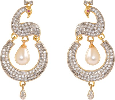 Enzy Mayur Inspired Zircon with Pearl hanging Alloy Drop Earring