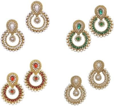 YouBella Combo of Red, Green , Pearl and American Diamond Alloy Chandbali Earring