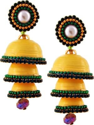 RR ENTERPRISES Hancrafted Single Stud Yellow Triple Jhumka Paper Jhumki Earring