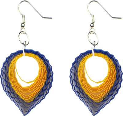 Trendmania Blue and yellow drop shape paper quilled earrings Paper Dangle Earring