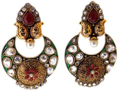 Aabhushan Emerald, Ruby, Crystal, Pearl Alloy Chandbali Earring