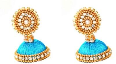 Craftworks blue jimuka Silk Dori Jhumki Earring