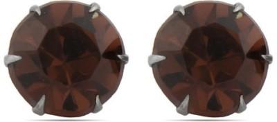 Gemshop Cool & Chic Deep Brown Crystal Alloy Stud Earring