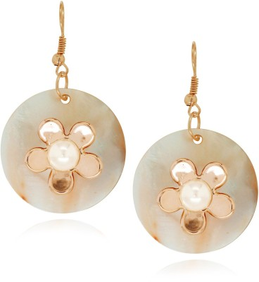 Spargz Fashionable Floral Design Round Sea Shell Alloy Dangle Earring