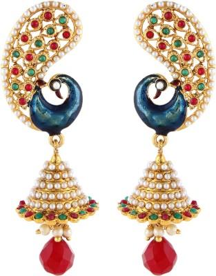 Aadi Creations Dainty Peacock Copper, Brass Jhumki Earring