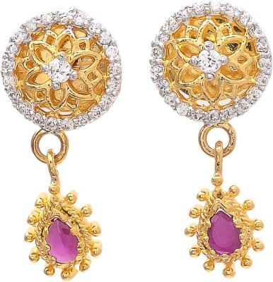 JewelAway Dangling Circle Brass Drop Earring