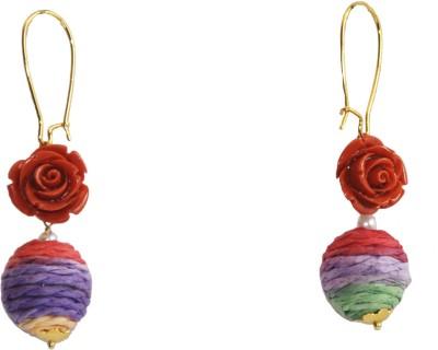 Women Trendz Flower Golden Polish Metal Dangle Earring