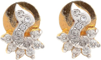 My Sara For Girls In White Cubic Zirconia Brass, Copper Stud Earring