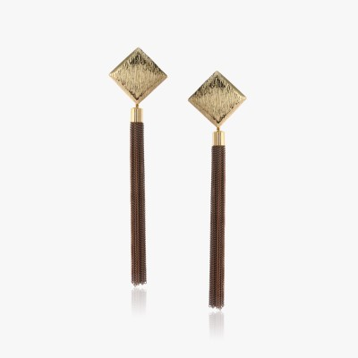 Shamoda Fashionable Brushed Metal Tassel Earring