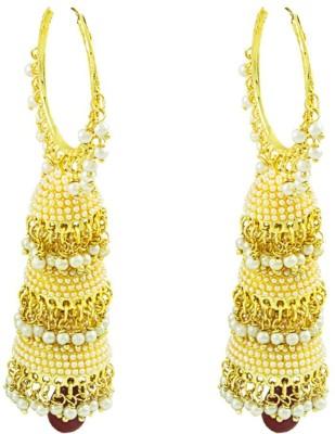 Savvy Style Diva Pearl Brass Huggie Earring