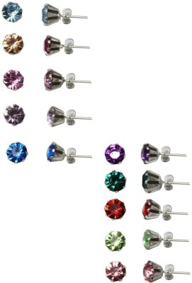 FashionFundamentals Prong Crystal Moissanite Metal Earring Set