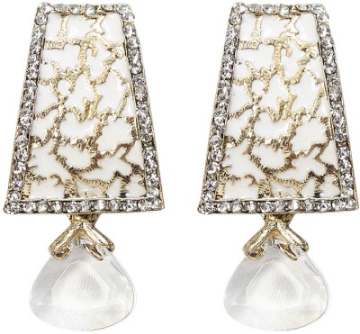 99HomeMart White Elegent Cubic Zirconia Metal Drop Earring