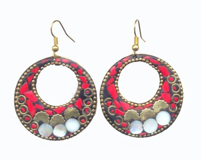 Pearls India Circle Red Metal, Lac Dangle Earring