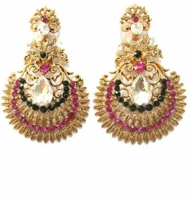 Aarnaa Rani Green Floral Alloy Drop Earring