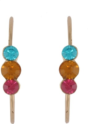 Diovanni Tripple Stone Silver Multicolour Crystal, Alloy Hoop Earring