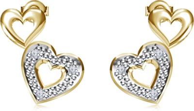 Kirati Stylish Double Heart Cubic Zirconia Sterling Silver Stud Earring