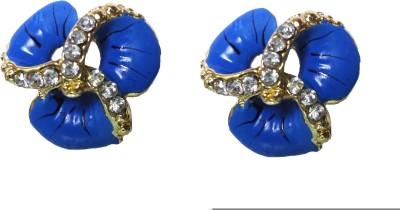 Modish Look Blue Small Tops Brass Stud Earring
