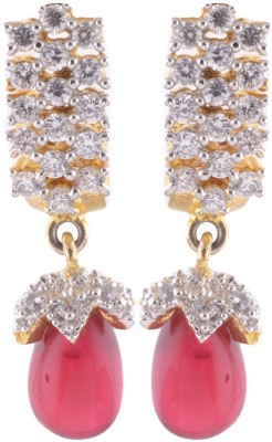 Sale Funda Red N Gold Ruby Alloy Drop Earring, Stud Earring