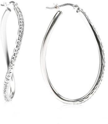 LeCalla CZ Stone Trendy Silver Sterling Silver Hoop Earring