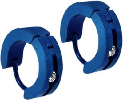 Sanaa Creations Men Brillant Blue Stainless Steel CZ Alloy Huggie Earring