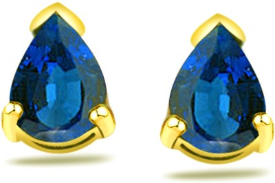 Surat Diamond Sapphire Yellow Gold Stud Earring