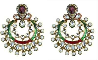Suvini Graceful With Kundan & Meenakari Work Alloy Chandbali Earring