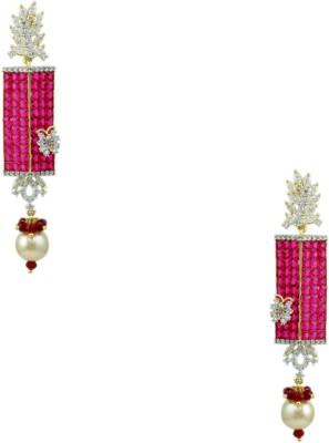 Orniza CZ Diamond Earrings in Pink Color and Two Tone Polish Brass Drop Earring
