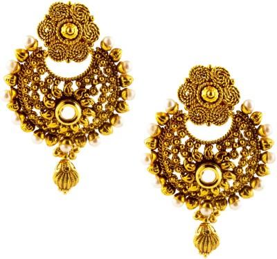 Jahnvi Floral Luxury Metal Chandbali Earring