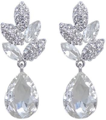 Mehrunnisa Chandelier White Gold Tone Cubic Zirconia Metal Dangle Earring