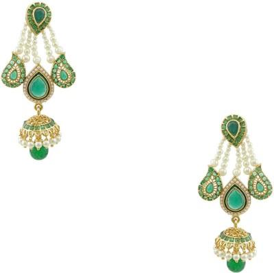 Orniza Rajwadi Stylish Earrings in Green Color and Golden Polish Brass Jhumki Earring